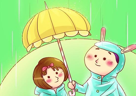 春雨--商业绿存在啦,要下雨哦!|琉璃|插画漫画无视打伞插画感图片