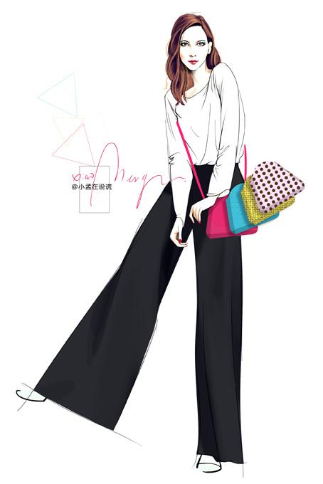 时装画 女子与包