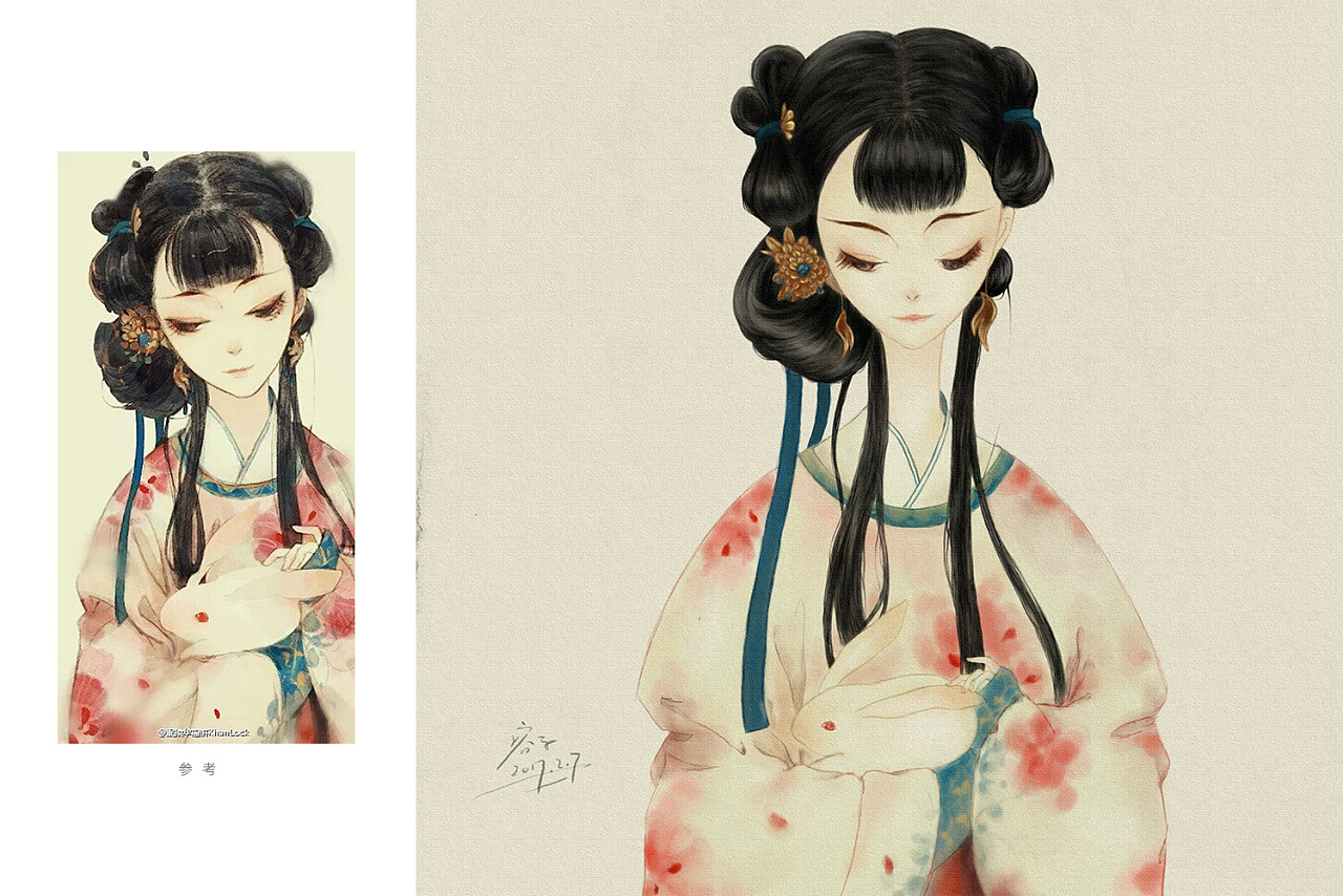 手绘临摹|插画|插画习作|容子 - 原创作品 - 站酷