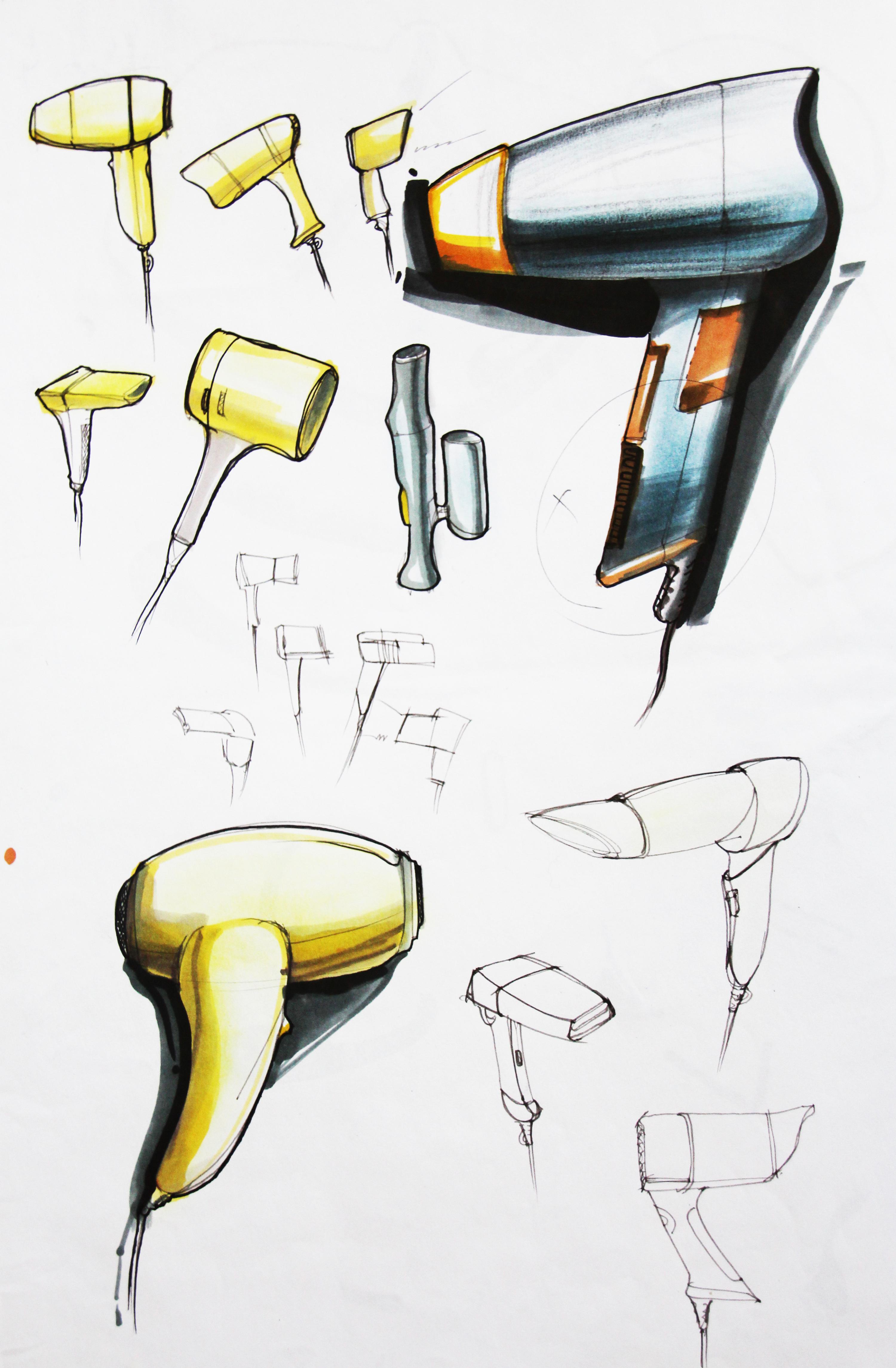 工业产品手绘吹风机