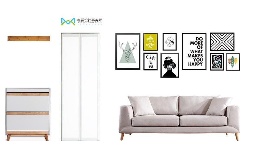 北欧风格一居室沙发背景墙设计图片