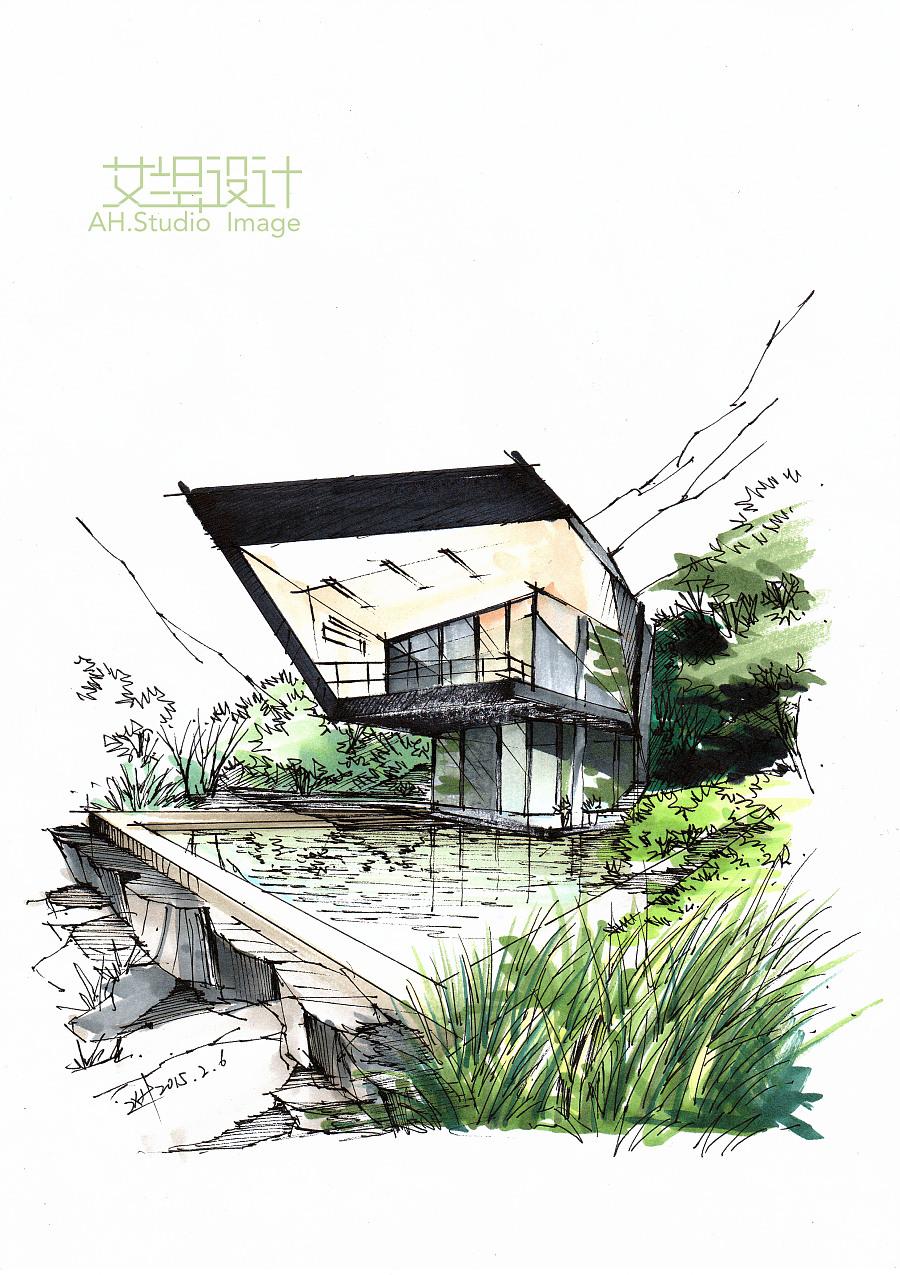 艾绘设计-小别墅马克笔教程步骤分享|建筑设计|空间