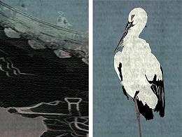 新中式禅意手绘仙鹤复古岭南背景墙装饰画