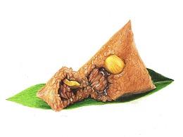【驴大萌彩铅教程358】端午节手绘美食 板栗鲜肉粽