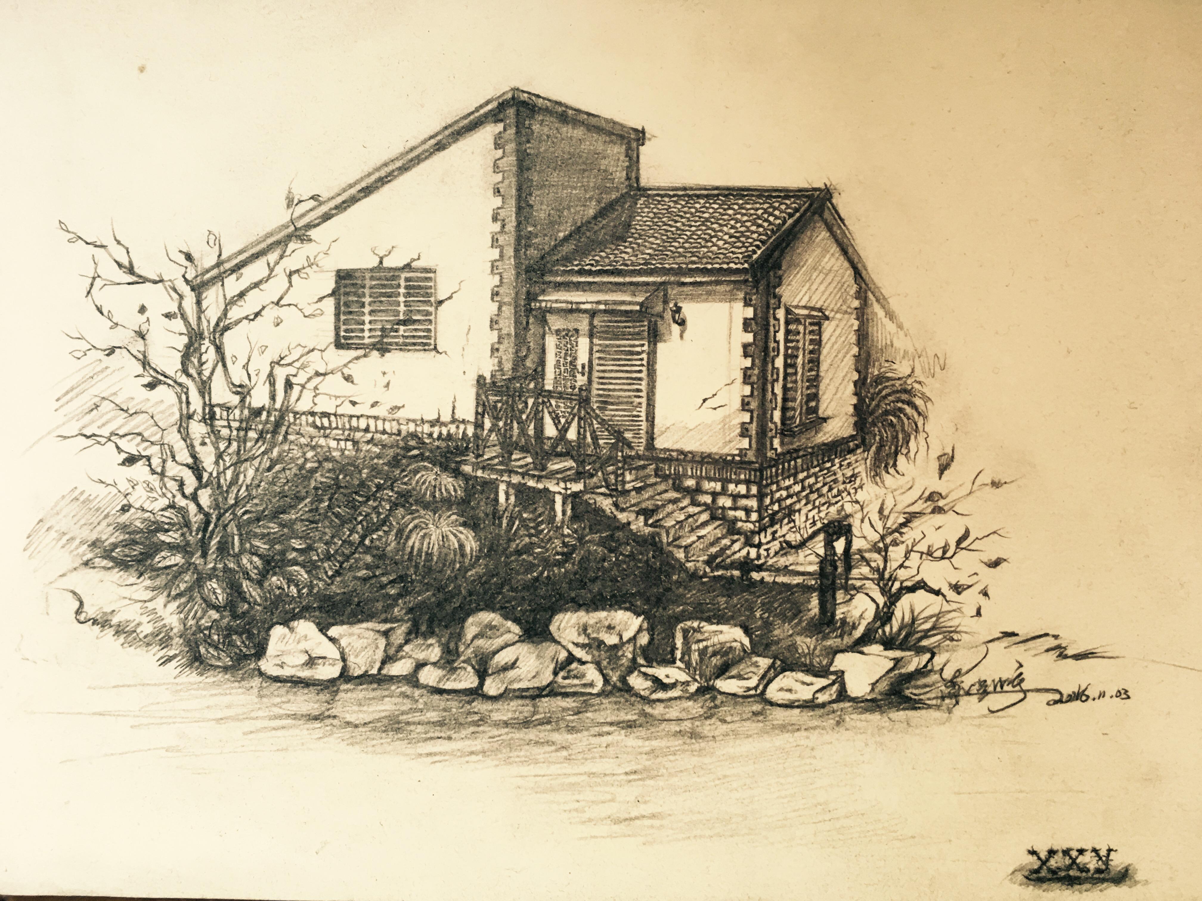 手绘作品 上海 公园写生