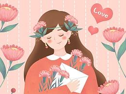 粉色温馨母亲节插画拿着花束卡片的小女孩