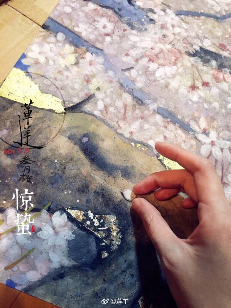 查看《【岩彩】三月樱》原图,原图尺寸:750x1000