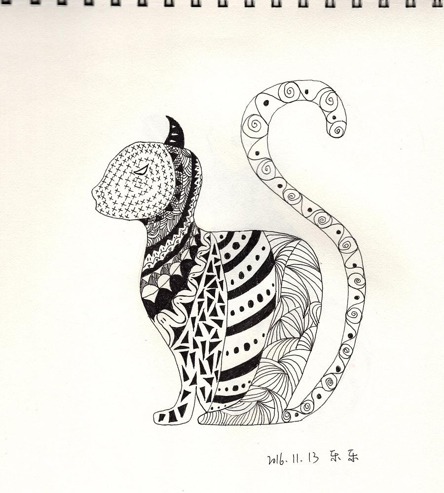 手绘-黑白画|其他绘画|插画|乐幽子