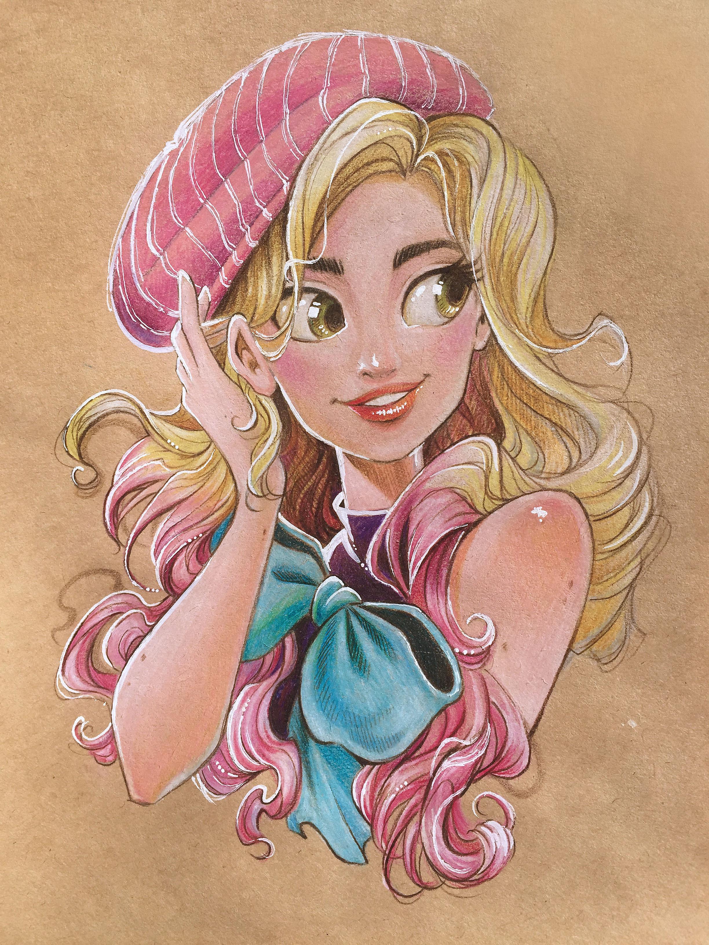 手绘彩铅卡通美式美女插画