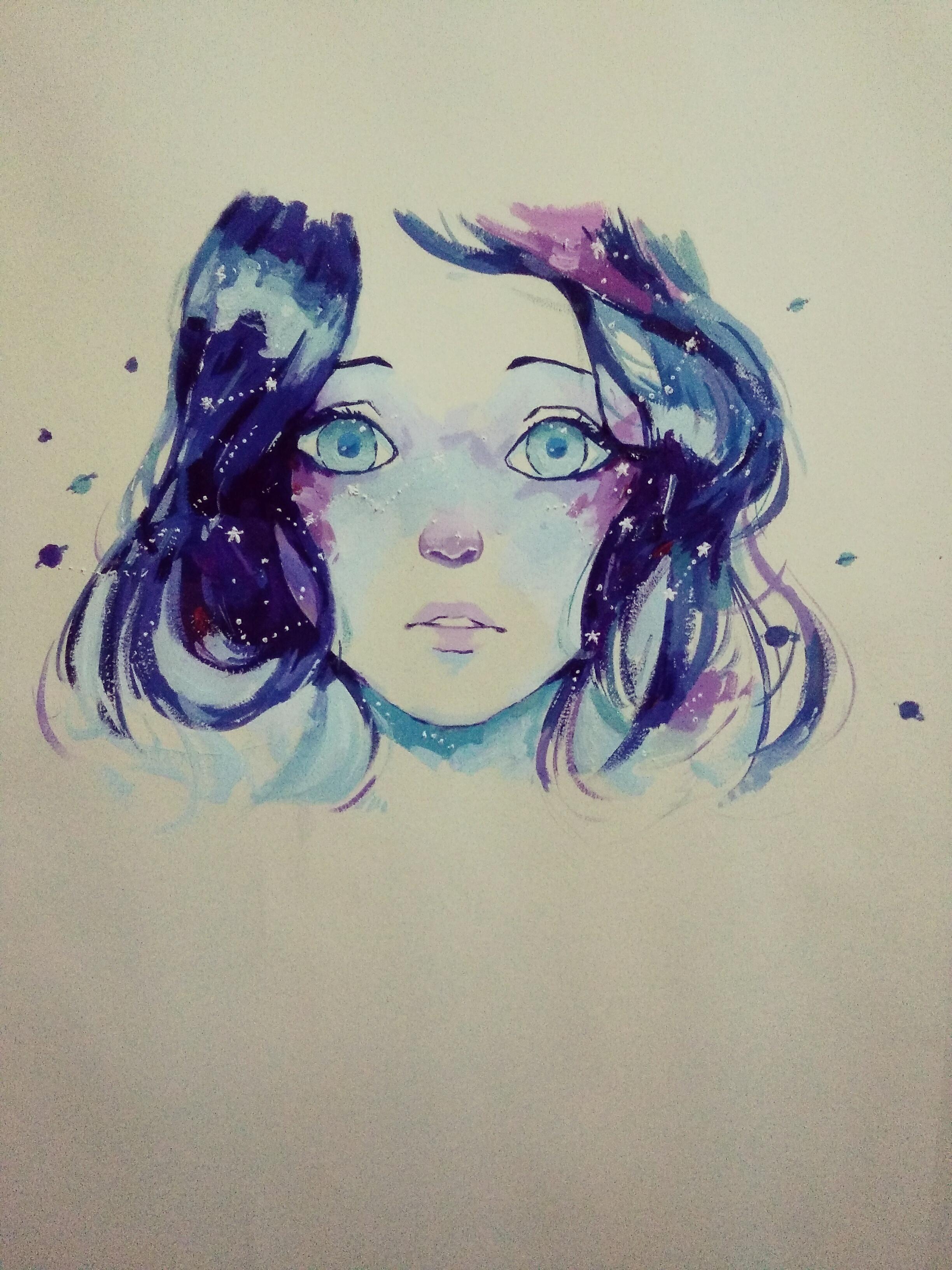 水粉雀斑女孩