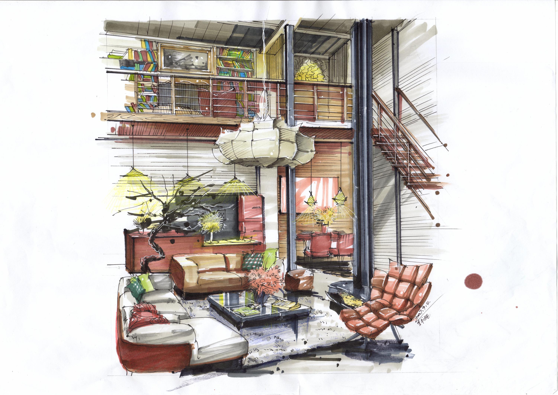 室内设计效果图马克笔手绘图片