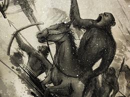 《猩球崛起3:终极之战》对抗版水墨海报绘制