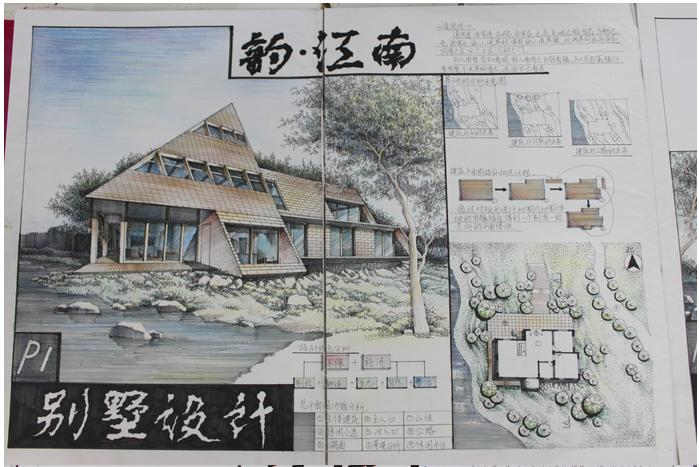 现代别墅和庭院的手绘表现