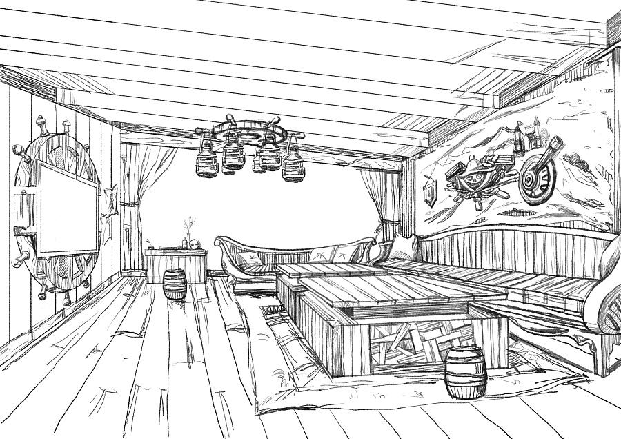 手绘海盗风室内设计风格手稿