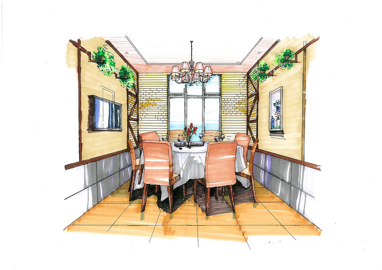 餐厅的包间手绘图