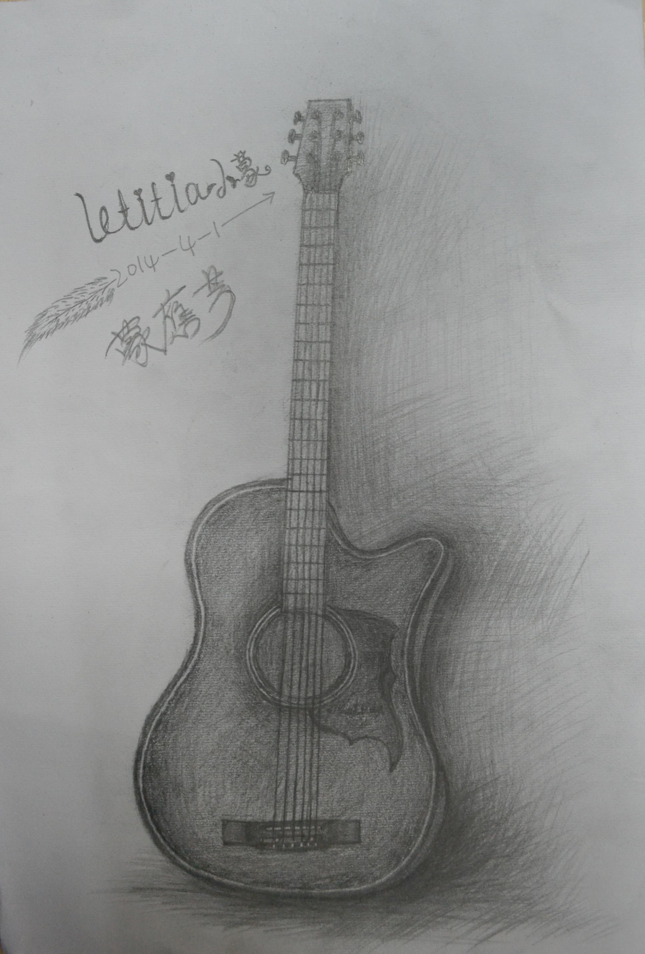 素描【吉他】铅笔画