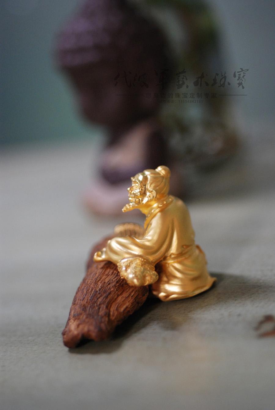 查看《代波军艺术珠宝定制----伯牙抚琴只为子期,沉香镶嵌设计摆件作品欣赏》原图,原图尺寸:900x1344