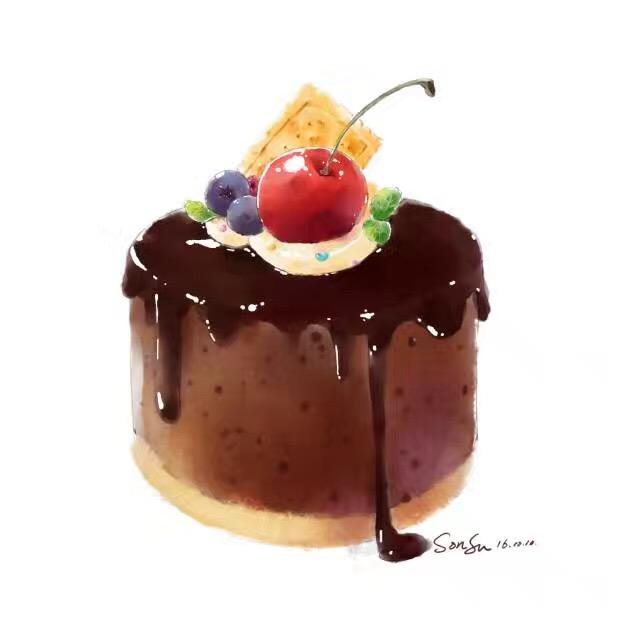 巧克力蛋糕手绘