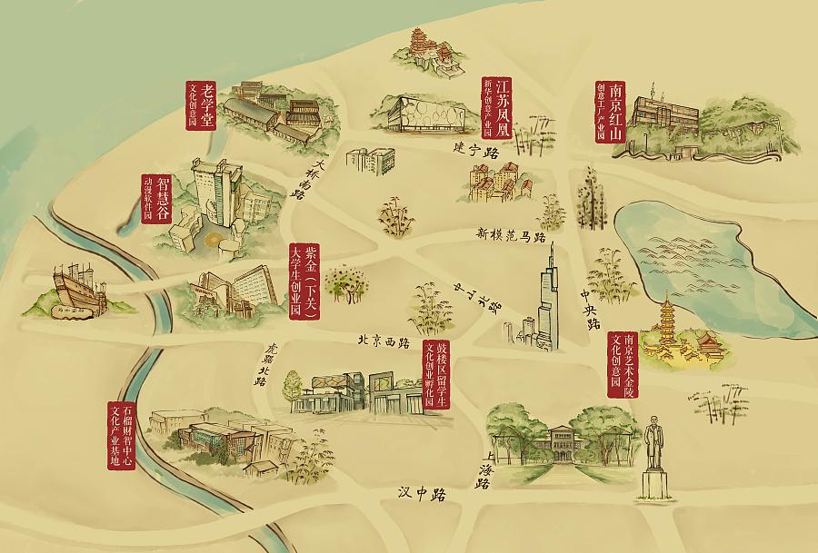 鼓楼文化产业园手绘地图