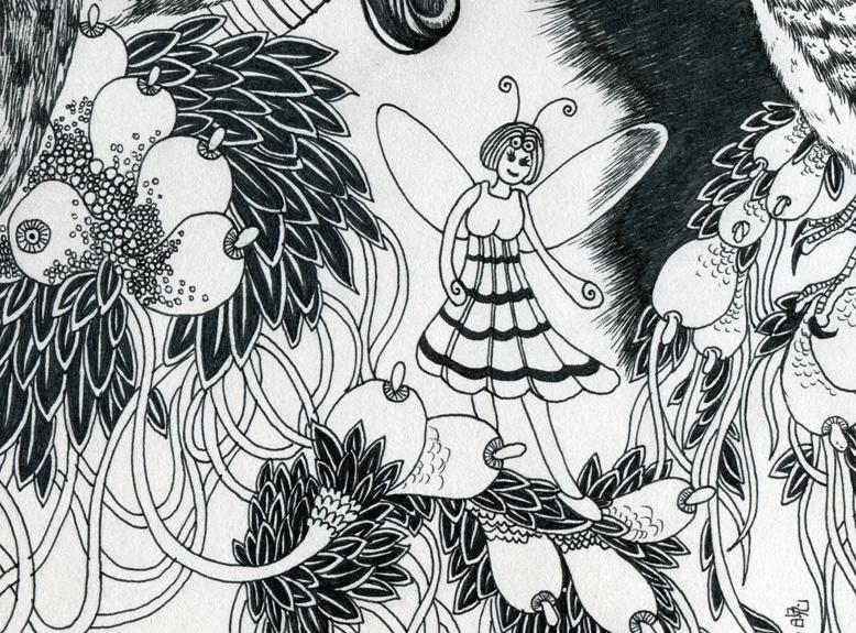 手绘《森之幽静》此系列黑白画/森之幽静第