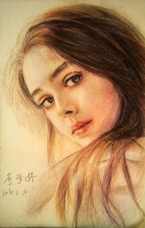 手绘彩铅女子