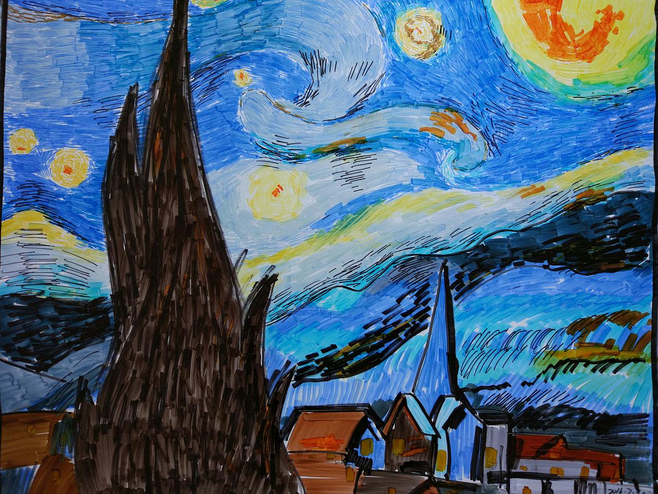 星空,马克笔,梵高|插画|插画习作|lvanhao - 原创作品