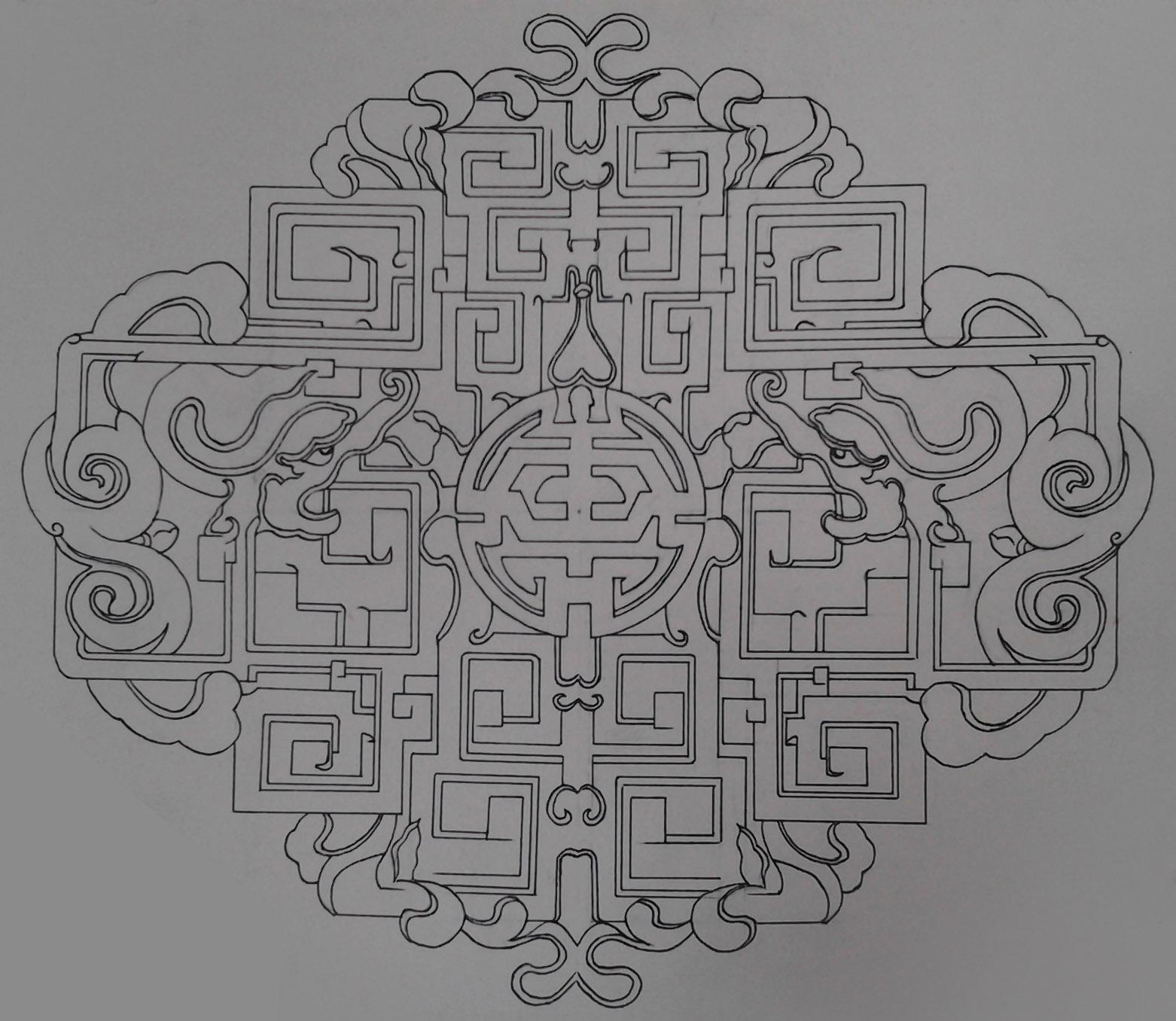 手绘木雕石雕花纹
