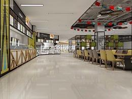 郑州学校食堂餐厅装修,这样的校园餐厅装修效果图方案非常有参考价值图片
