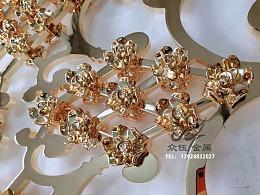 奢华款-K金铝板雕刻镶花镂空屏风花格