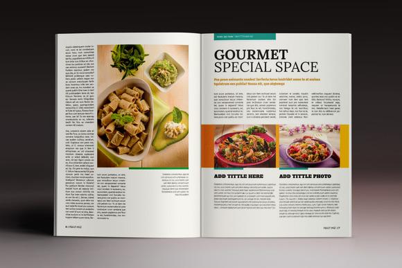食品餐飲美食簡介畫冊雜志模板indesign模板圖片