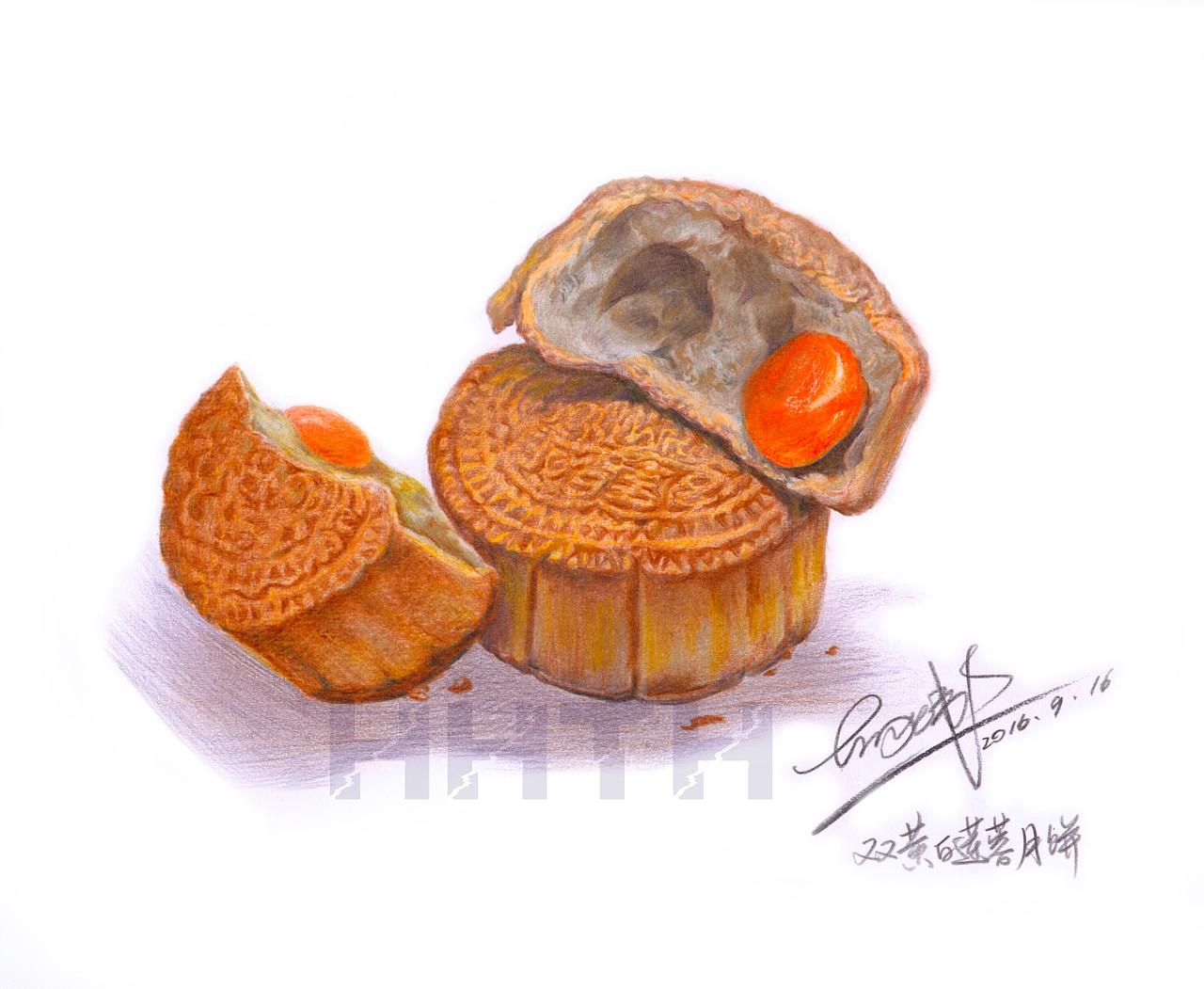 彩铅画 月饼