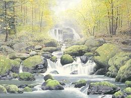 写实水彩风景,清泉石上流!