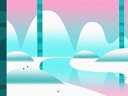 雪山插画2张。