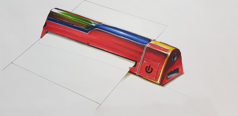 工业设计手绘之便携打印机|工业/产品|电子产品|四重