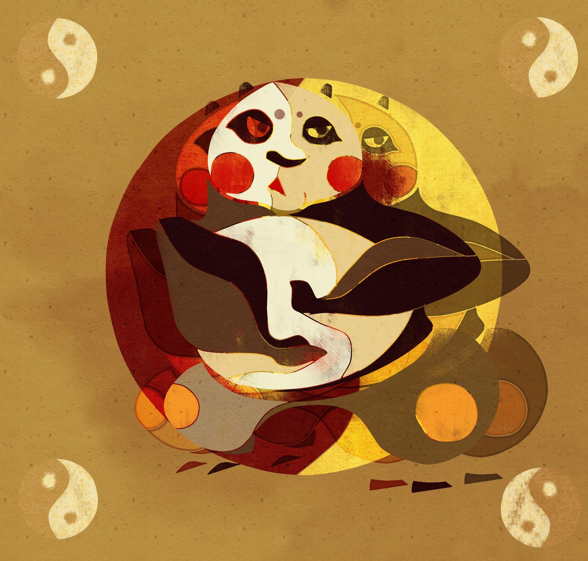 碟片手工制作图片熊猫