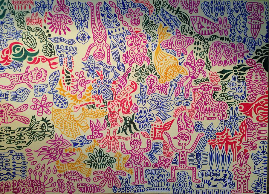 马克笔手绘《五彩斑斓的小动物》 绘画习作 插画 荣r