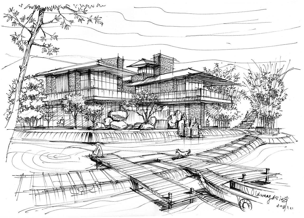 溪水会所钢笔线稿,木亭竹子板凳水景设计手绘透视图线稿,岩层咖啡包包