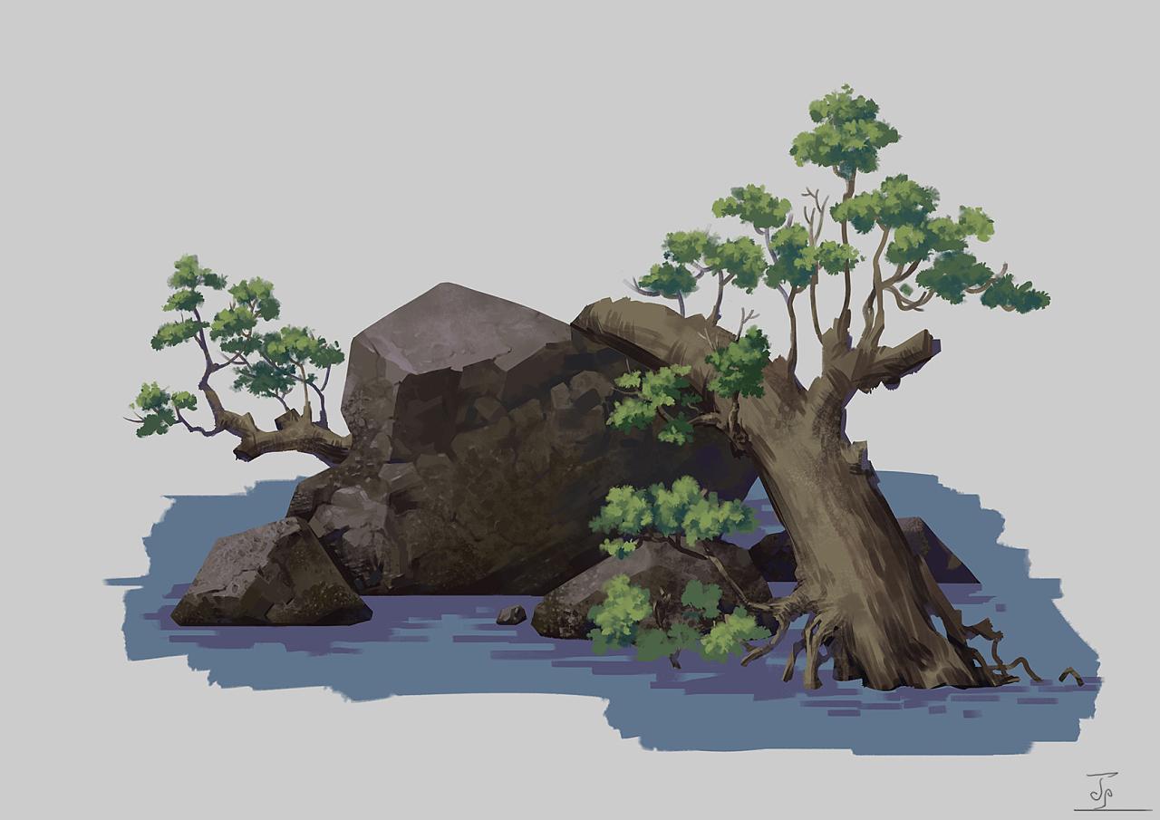 树石组合物件设计