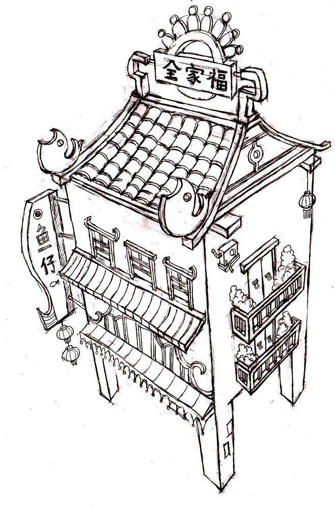 骑楼结构图手绘