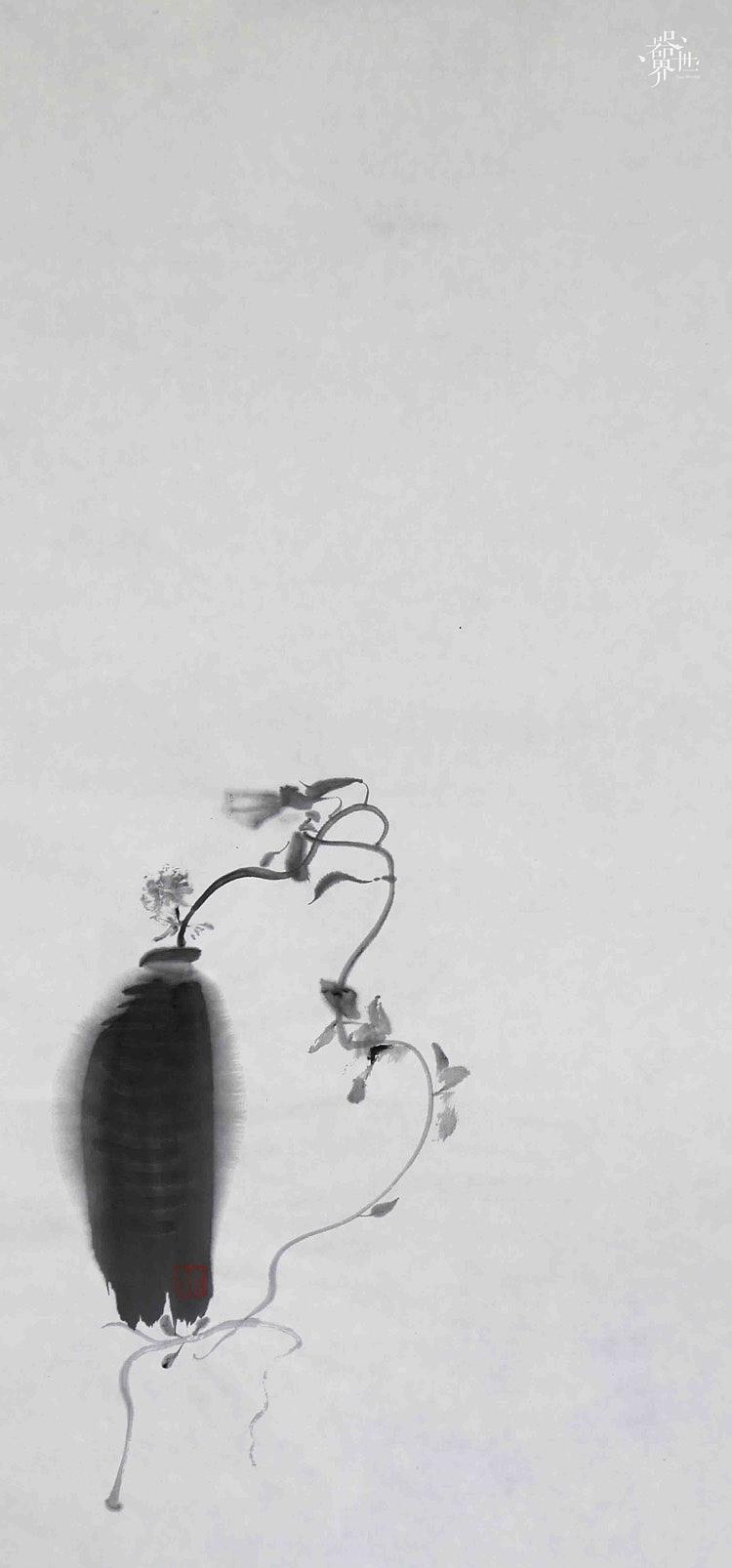 器世界名家字画 国画 孙进手绘原稿 禅意花鸟画系列作品欣赏