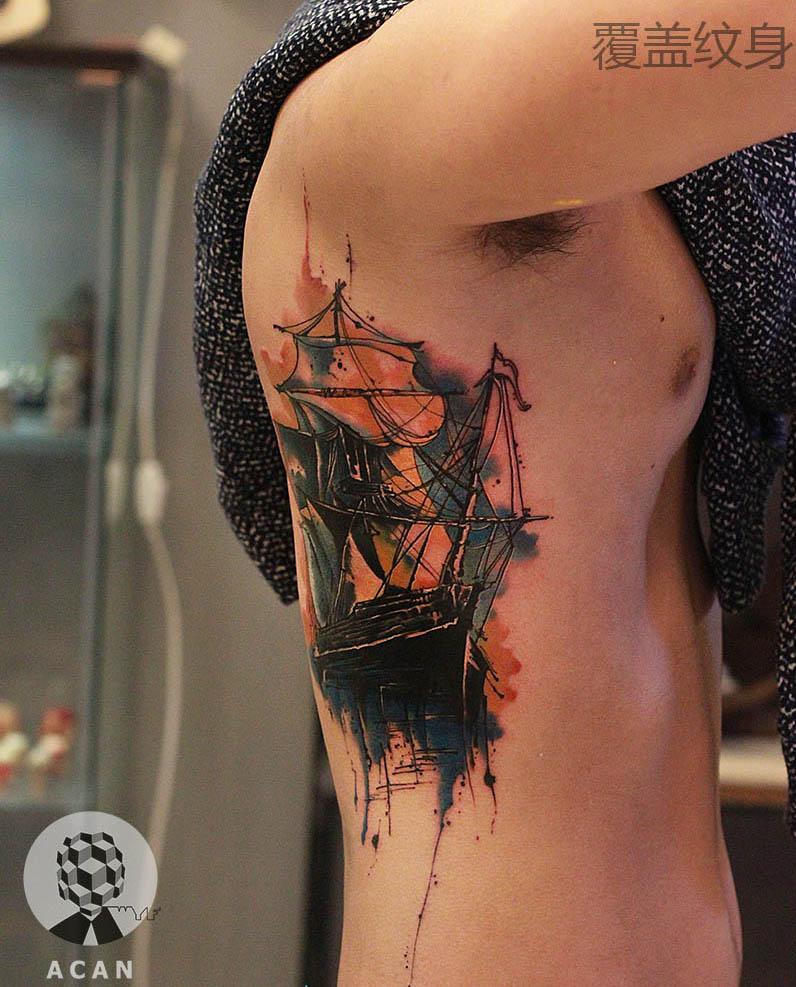 原创作品:帆船纹身