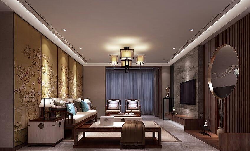 永恒理想世界装修效果图150平新中式风格三室两厅设计图片