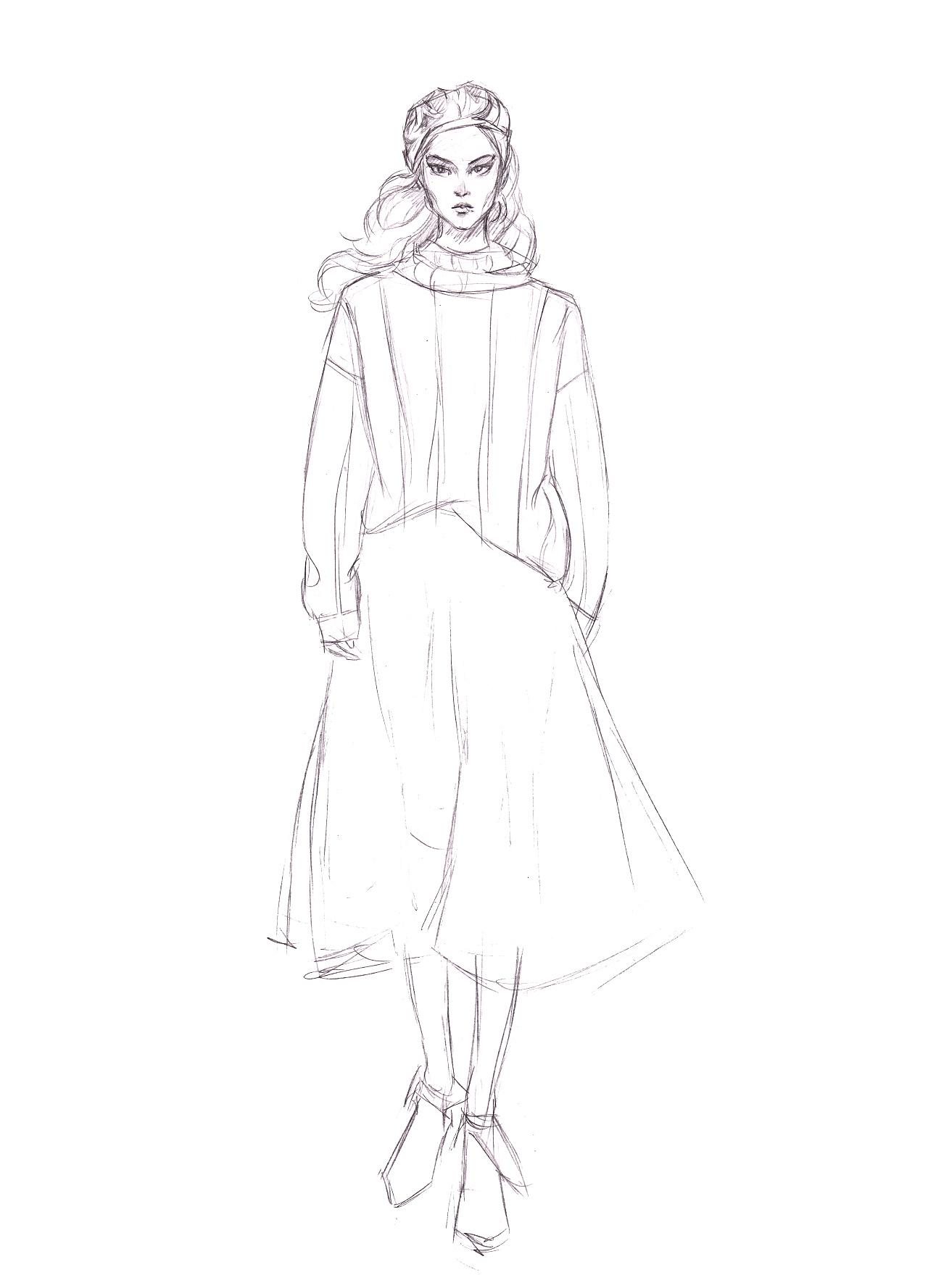 时装画分解步骤 针织毛衣 肌理半裙
