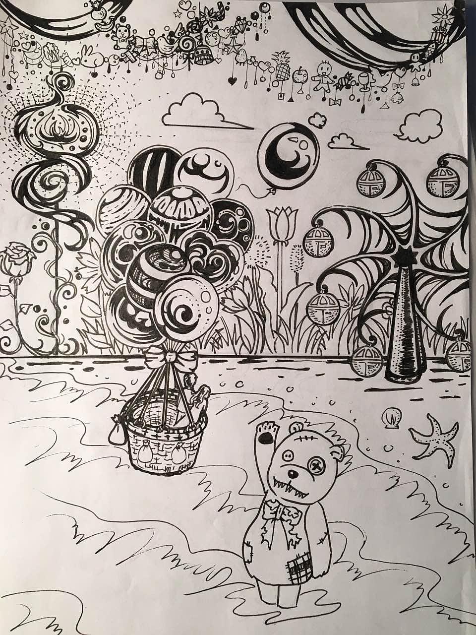 单色手绘插画
