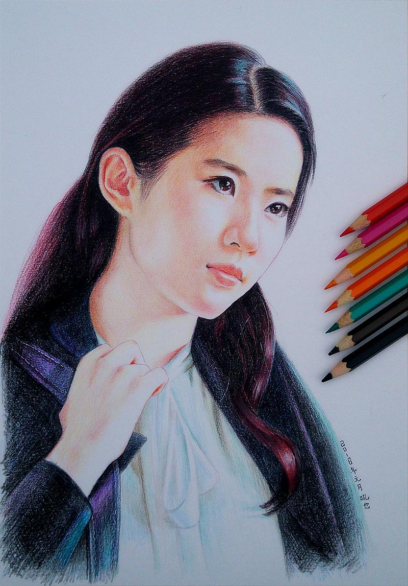 刘亦菲 彩色铅笔画 吼也手绘