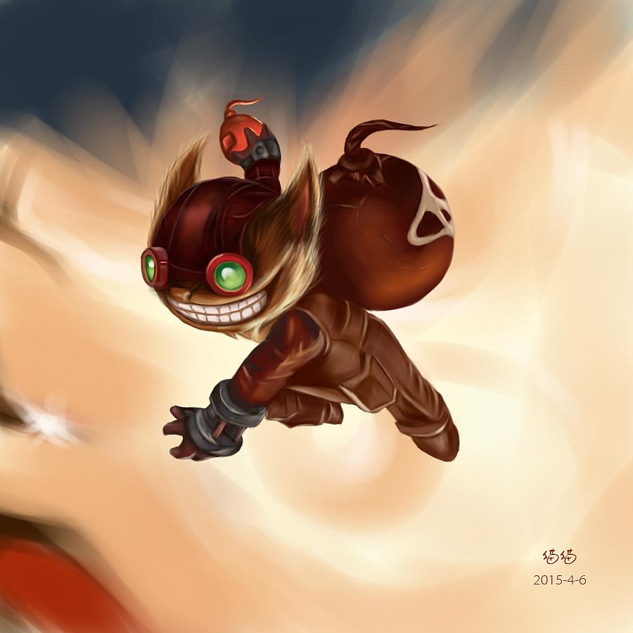 手绘——lol游戏角色一张,据说是叫炸弹人