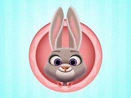 可爱兔子拟物图标