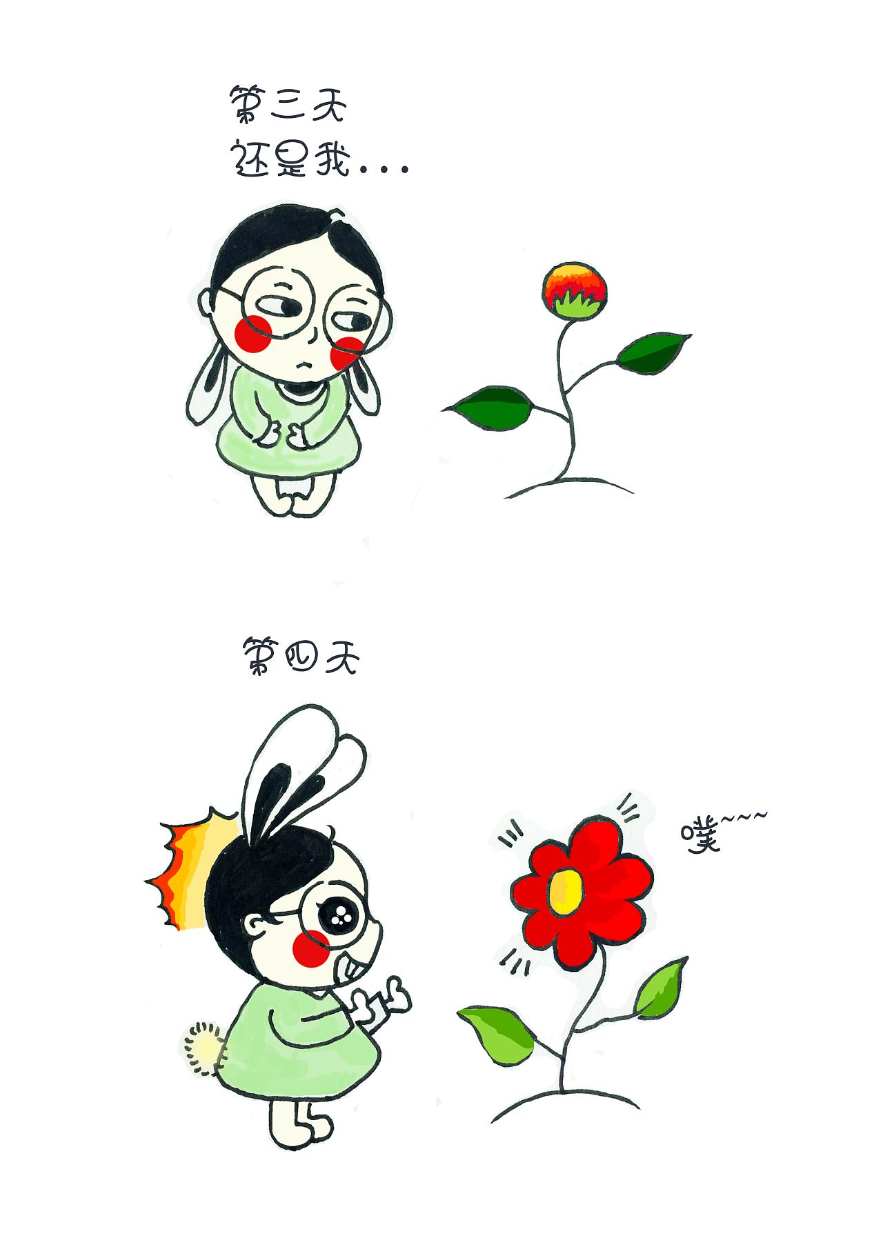 糊涂兔-彩铅·手绘·卡通-儿童-花朵|插画|插画习作