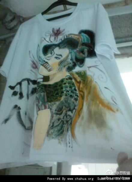 衣服手绘 使用丙烯颜料画的一幅黑道恶女浮世绘 其他绘画 插画 思哲猫