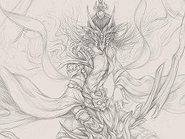 中国神祗———太阳神东君(楚地神话)的插画创作